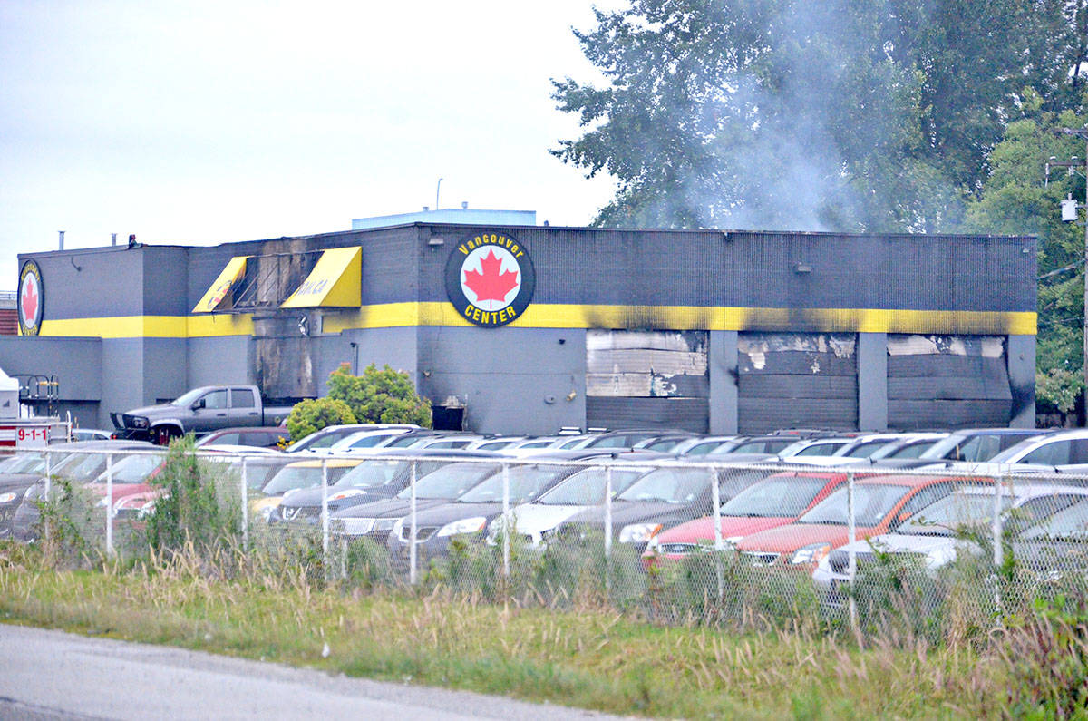 Investigators are on scene at an overnight fire at a used vehicle dealership on the Langley Bypass.