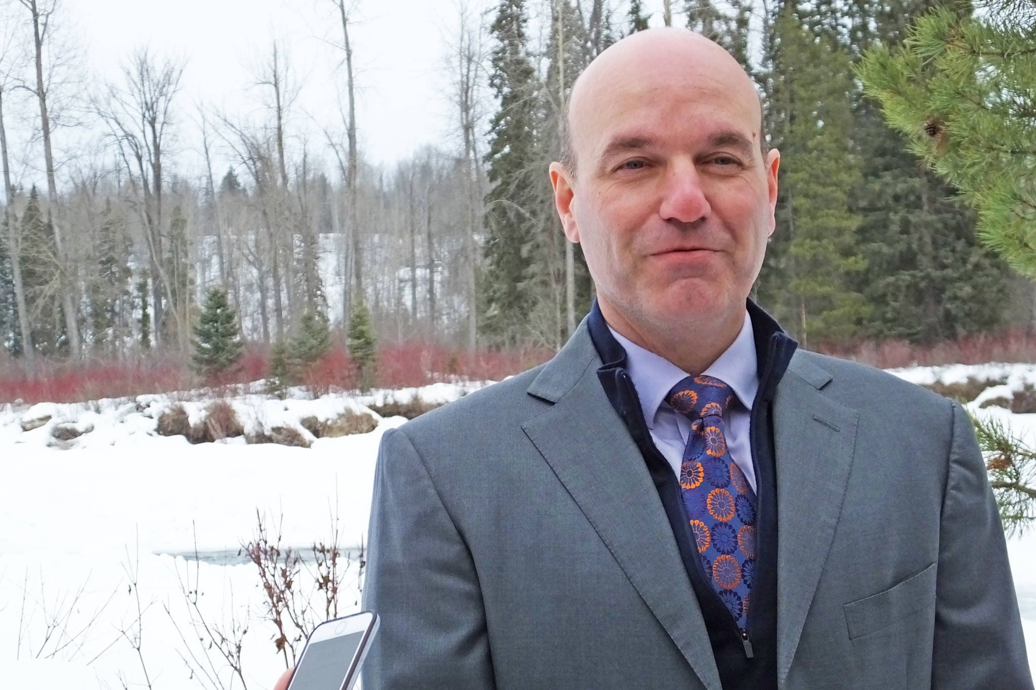 Skeena-Bulkley Valley MP Nathan Cullen announces at Riverside Park in Smithers that he is not running in the 2019 federal election. (Chris Gareau photo)