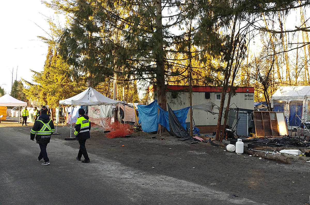 There was a heavy security presence at Anita Place Tent City on Saturday morning. (Neil Corbett/THE NEWS)