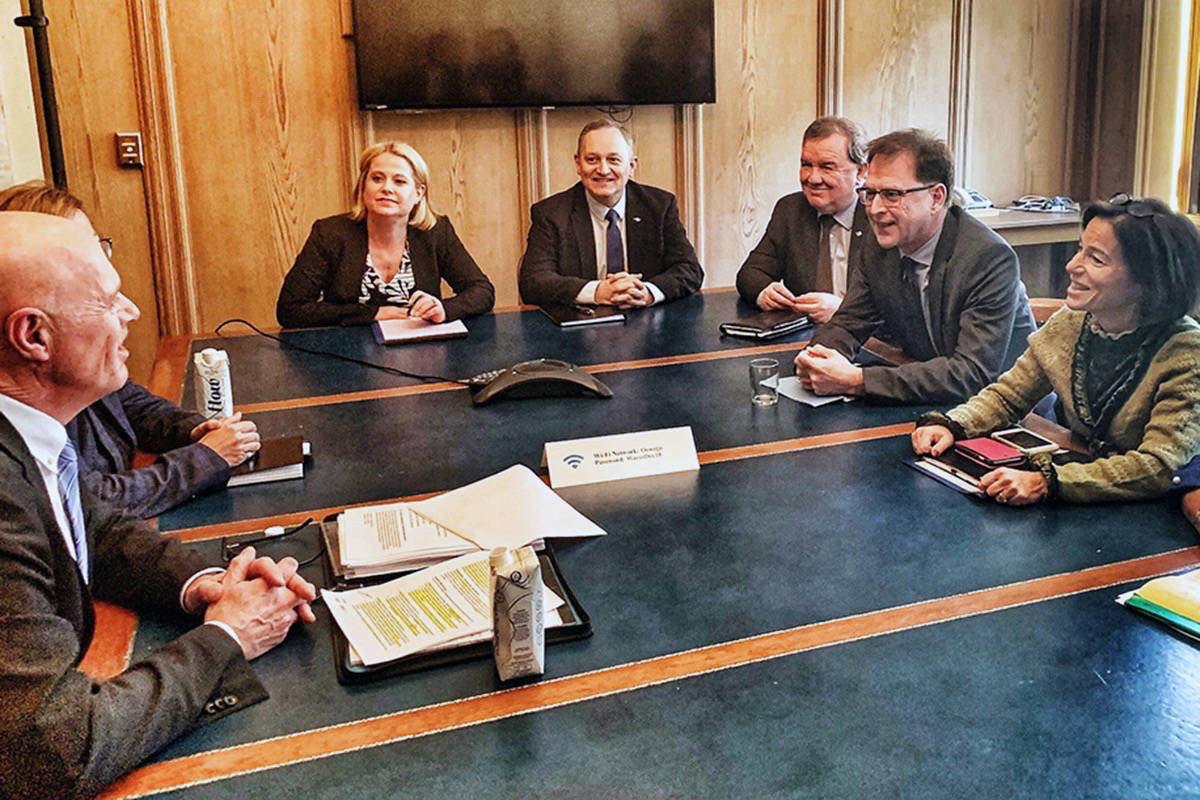 Maple Ridge Mayor Mike Morden, left, met with provincial ministers on Feb. 25. (Contributed)