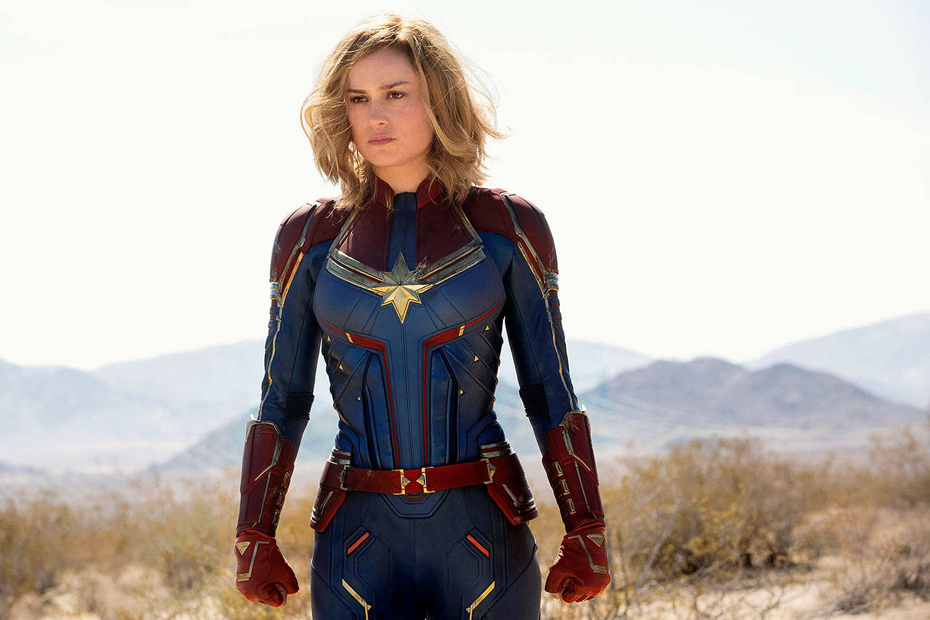 """Brie Larson as Captain Marvel/Carol Danvers in the movie """"Captain Marvel."""" It will be shown, free, March 8 to more than 100 girls and women served by the Edmonds School District and the YWCA. (Photo: Chuck Zlotnick / ©Marvel Studios 2019)"""