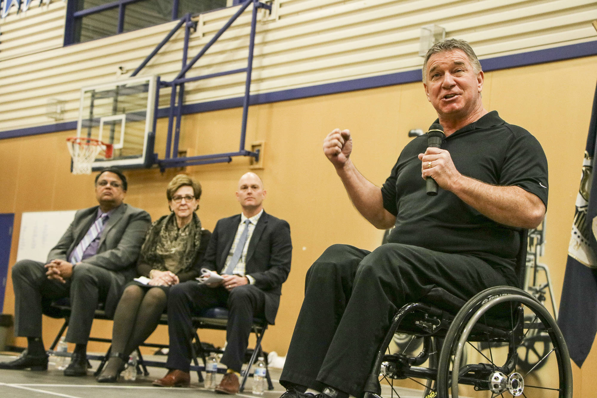 """Rick Hansen was at Abbotsford's Rick Hansen Secondary School, named after the famed disabled athlete, to announce that the school had received his foundation's first """"gold"""" rating for accessibility Wednesday morning. Dustin Godfrey/Abbotsford News"""