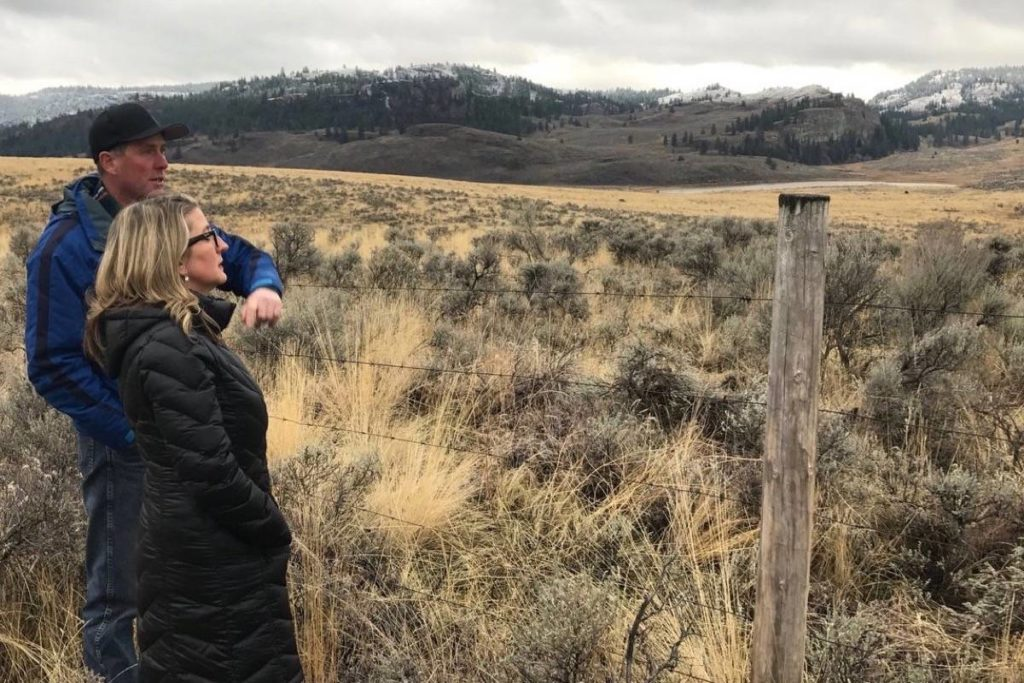 B.C. Agriculture Minister Lana Popham tours a ranch near Keremeos, December 2017. (Black Press files)