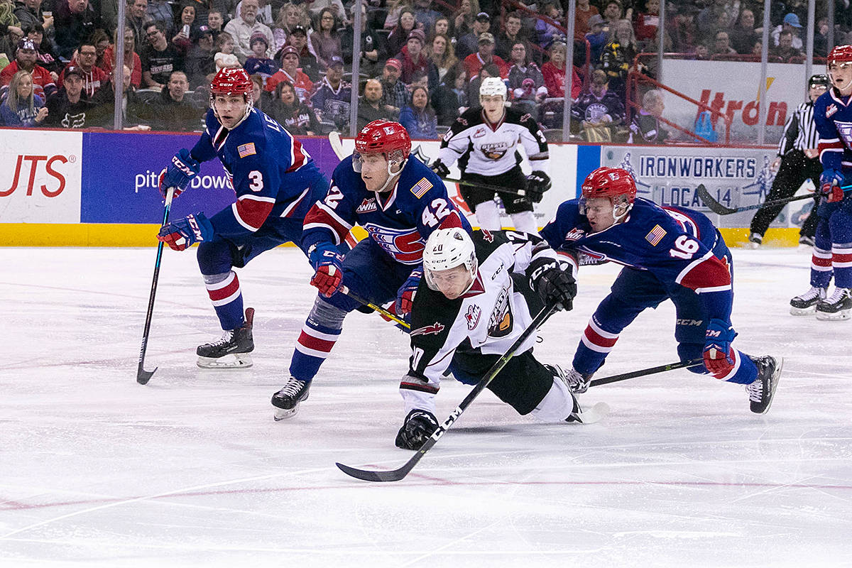 Friday night, the Vancouver fell 4-1 to Spokane. It was only the third regulation loss for the Giants since Jan. 6. Next up, they faceoff against the Americans Saturday night. (Larry Brunt/Special to Black Press)