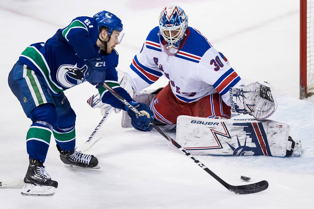 Vancouver Canucks' Tyler Motte, front left, scores his first goal against New York Rangers goalie Henrik Lundqvist, of Sweden, during the second period of an NHL hockey game in Vancouver, on Wednesday March 13, 2019. THE CANADIAN PRESS/Darryl Dyck