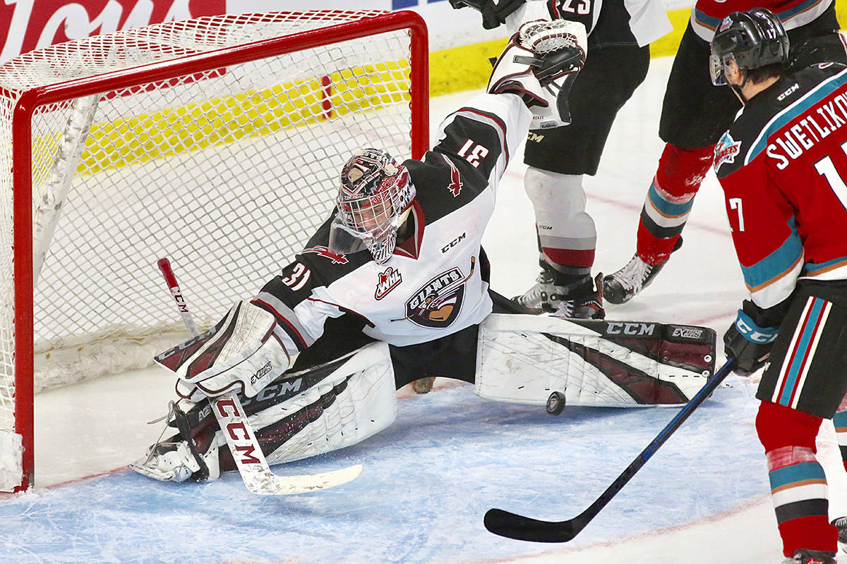 Vancouver netminder Trent Miner stopped 17 of the 18 shots on goal during the Giant's second to last game of the regular season. (Rik Fedyck/Vancouver Giants)