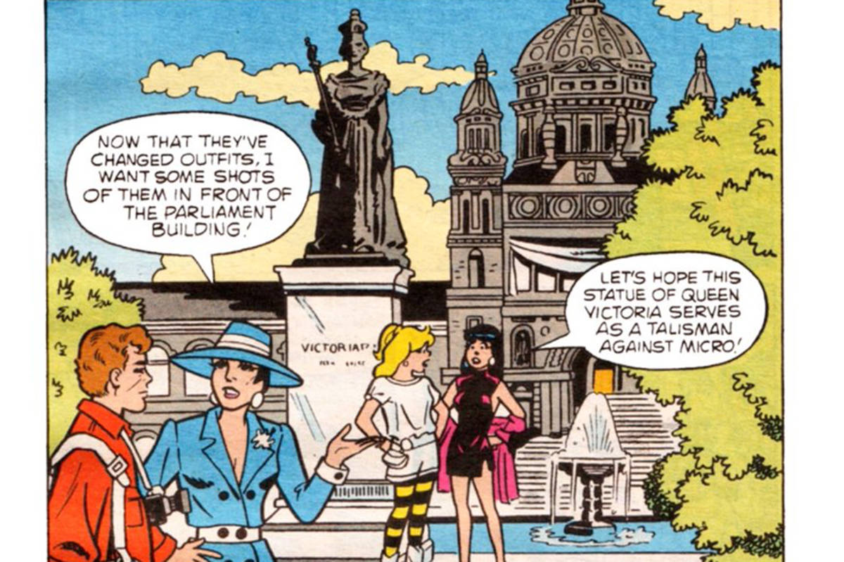 Archie comic characters Betty, Veronica and FP Jones visit Victoria 23 years apart