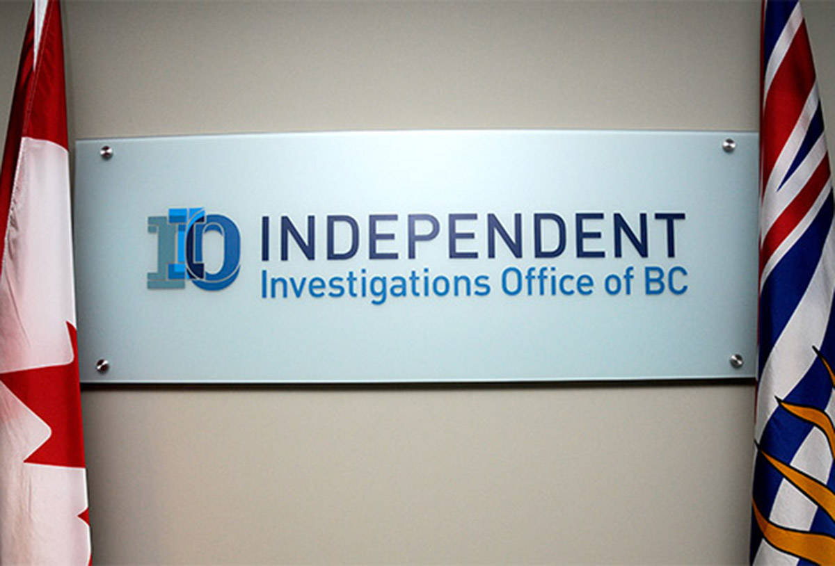IIO BC is a civilian oversight agency that investigates incidents involving police officers that result in death or serious harm to determine whether or not an officer may have committed an offence. (Black Press Media file photo)