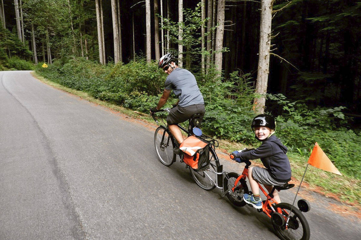 Langley Cycling Hub member Mitch Nurse and his son, Jack, recently took a ride on the forest demonstration road in Lower Seymour Conservation Reserve in North Vancouver. (Jacalyn Nysetvold/Special to Langley Advance Times)