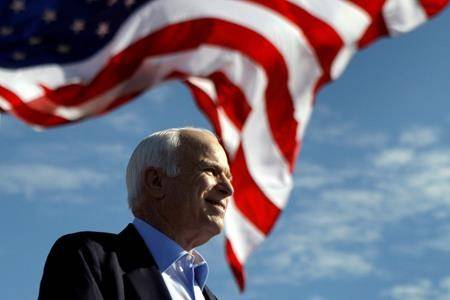 In this Nov. 3, 208 file photo, Republican presidential candidate Sen. John McCain, R-Ariz. speaks at a rally outside Raymond James Stadium in Tampa, Fla. President Donald Trump is not backing down from his longstanding criticism of the late Sen. John McCain. Trump declared Tuesday at the White House: I was never a fan of John McCain and I never will be. Trump drew criticism over the weekend for tweeting insults at McCain, a Vietnam war hero, Arizona senator and 2008 Republican presidential candidate who died last year of brain cancer. (AP Photo/Carolyn Kaster)