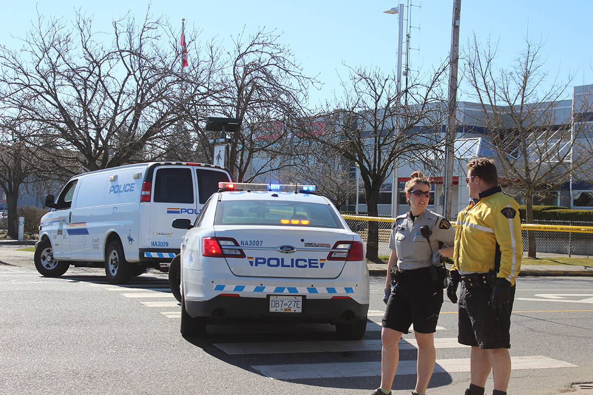 Nanaimo RCMP closed off area around the police detachment due to suspicious packages. KARL YU/The News Bulletin