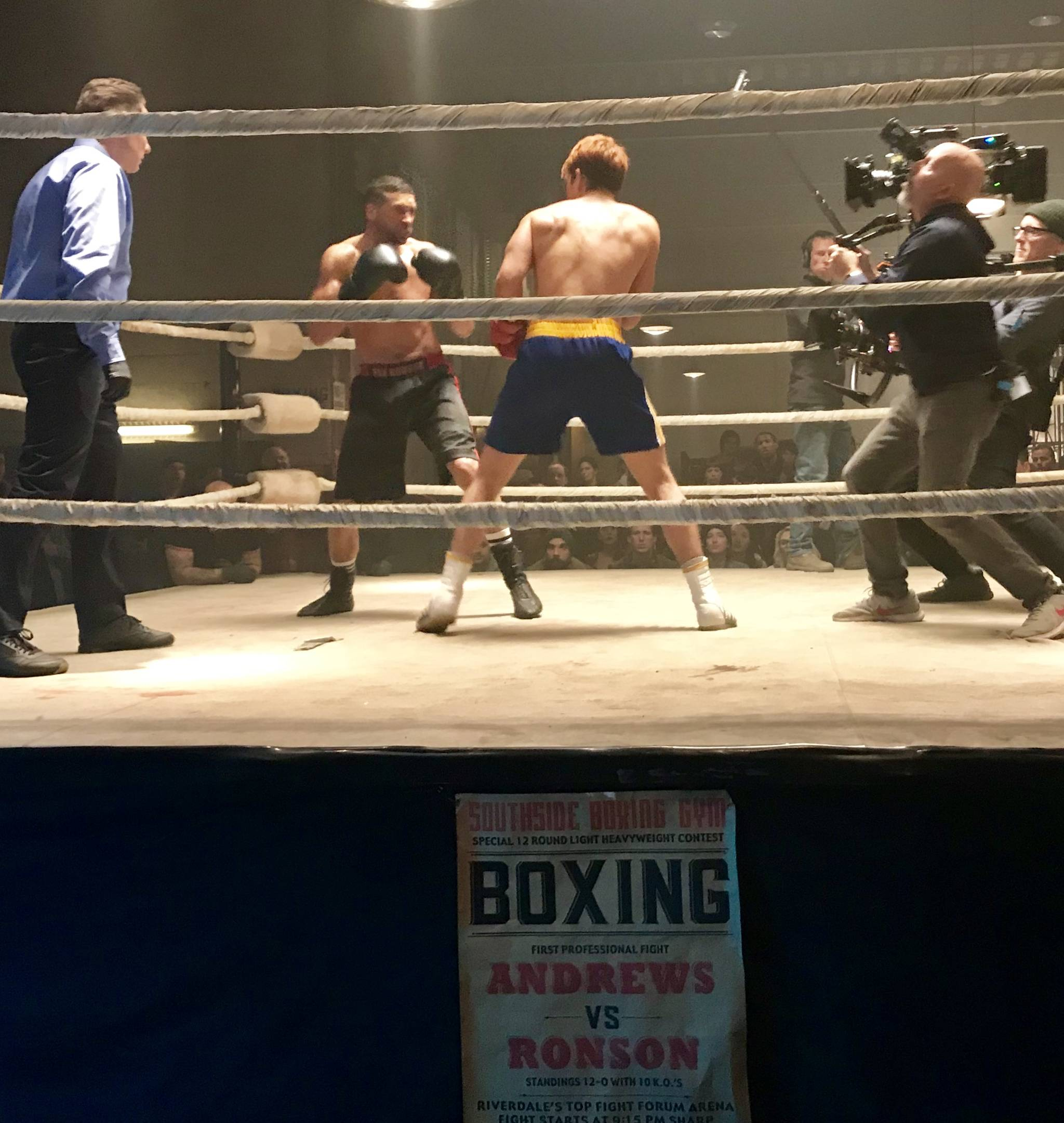 Darcy Hinds and K.J. Apa square off during shooting of a ring scene for Riverdale. (Contributed photo)