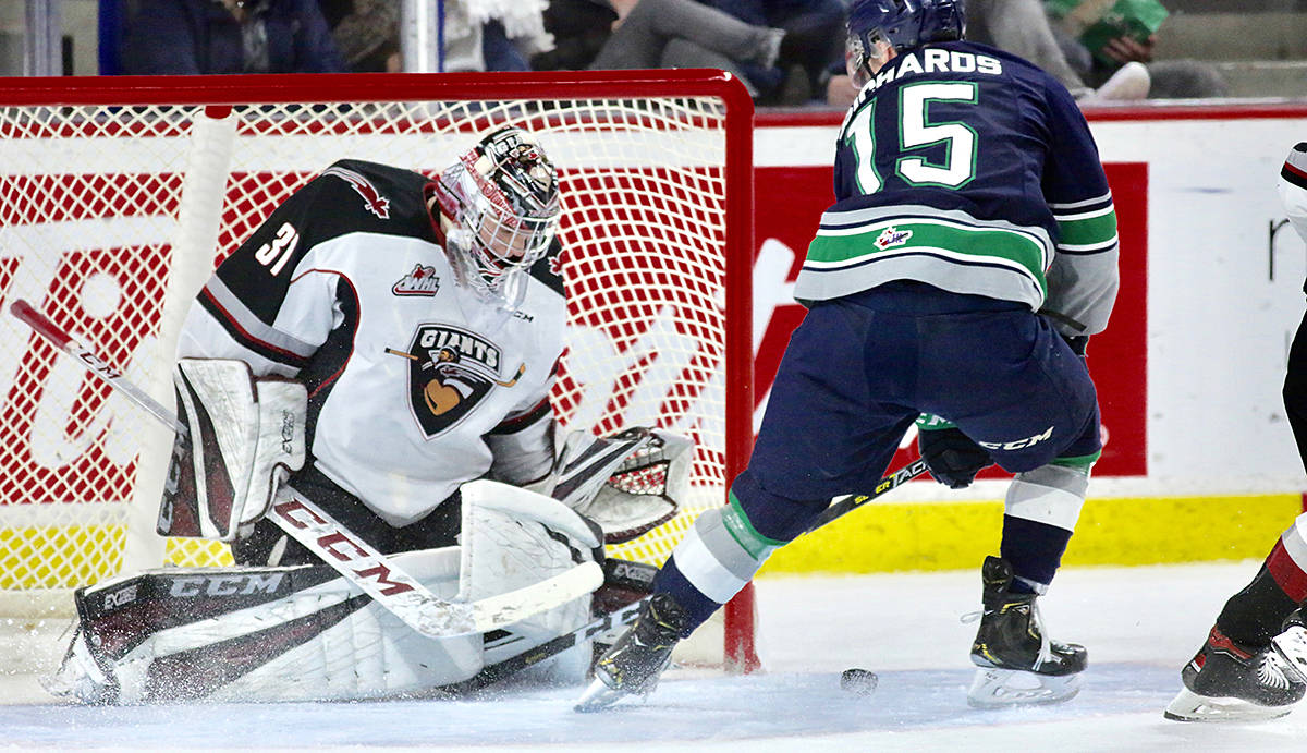 Playoff series tied 1-1 after Giants fall to T-Birds Saturday night at the Langley Events Centre. Next game state-side Tuesday evening. (Rik Fedyck/Vancouver Giants)
