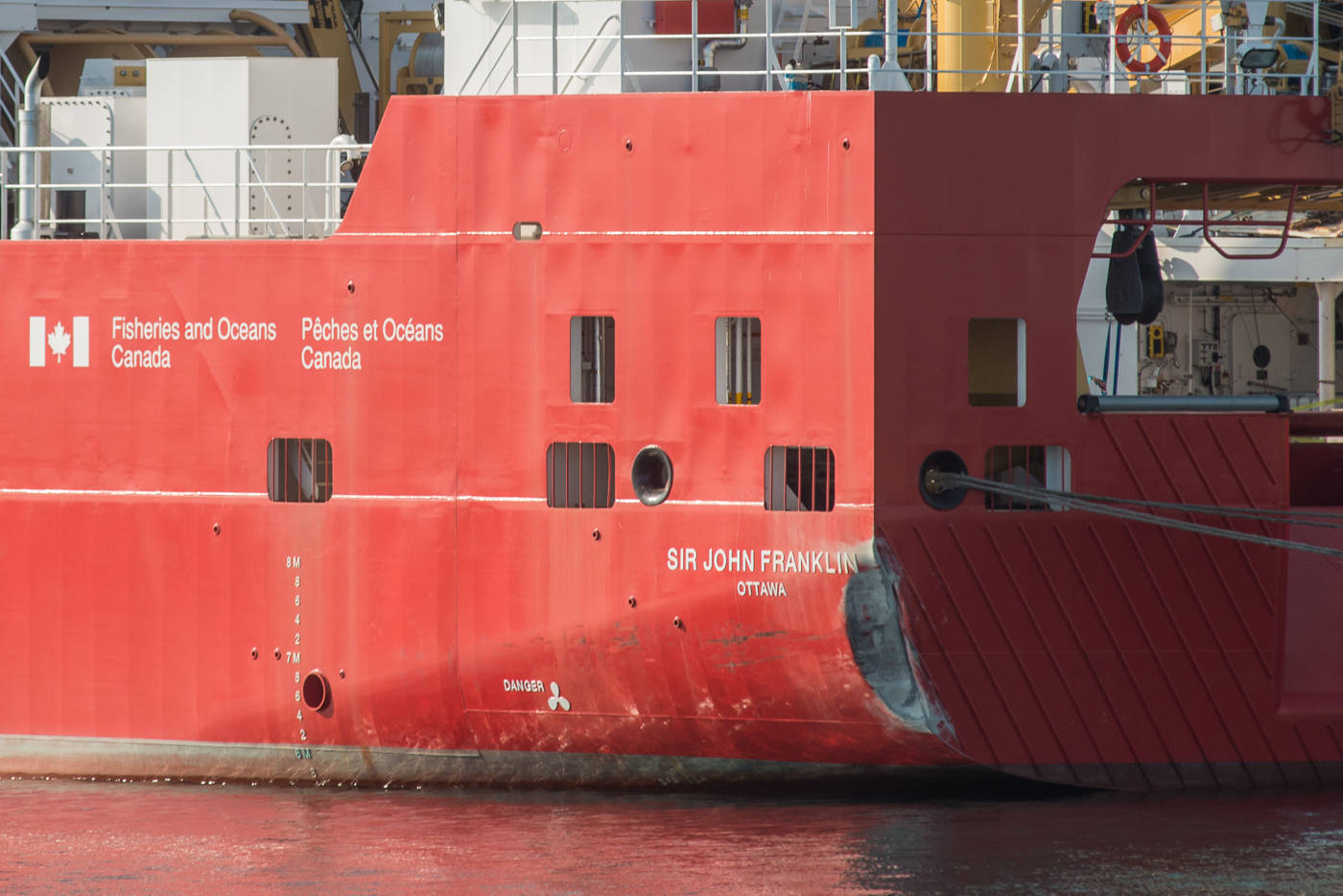 While the back corner of the Sir John Franklin vessel was visibly crunched, a spokesperson for Seaspan could not be immediately reached to confirm an estimate on the damage. (Keri Coles/News staff)