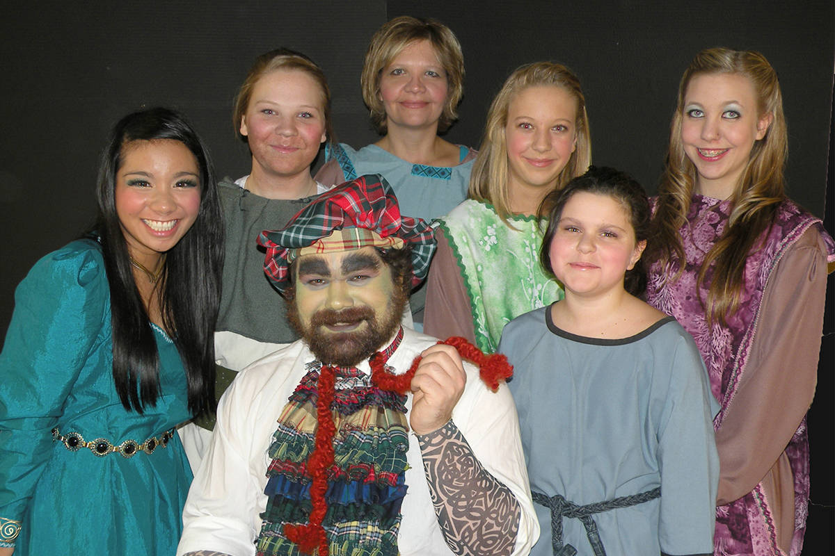 "A group of Langley residents performed in Ellie King's ""Sword in the Stone"" a few years ago. Back row Claurien Zanoria (left), Marinna, Susanna, and Stefani Delisuminovic; Leia Roberds. From row James King (left), Alysha Manick. Courtesy Stacey Sherback"