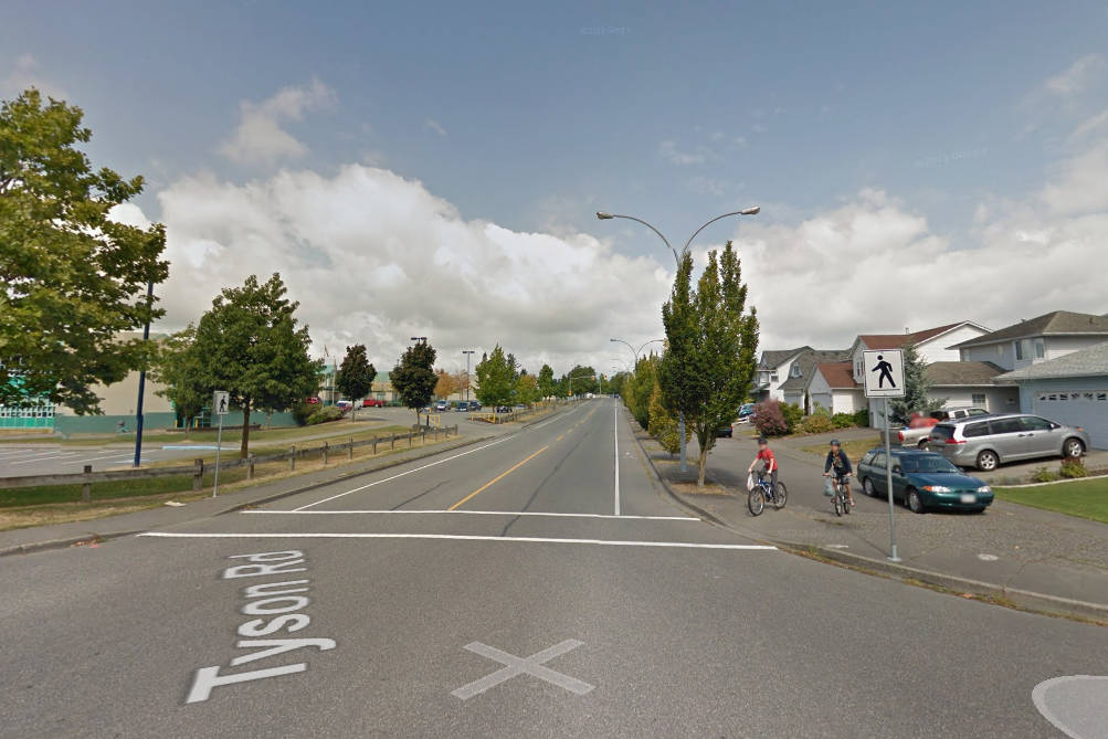 A Chilliwack RCMP officer faces one charge of driving without due care and attention after an elderly woman was struck by a police vehicle on Tyson Road near this location on March 30, 2018. (Google Street View)