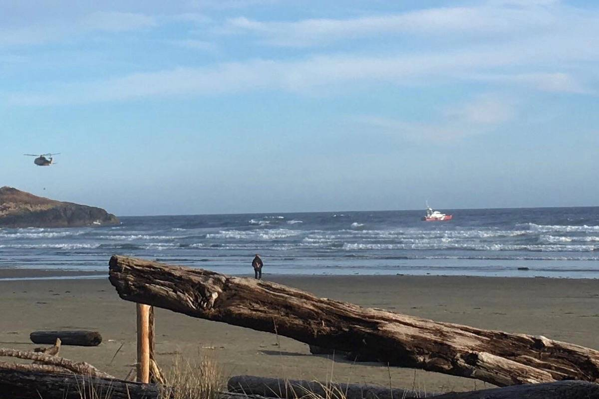 At about 6 p.m. on March 26, RCAF Cormorant helicopter rescued four individuals stranded on Lovekin Rock at Long Beach in the Pacific Rim National Park Reserve. Approach by boat to Lovekin was ruled too dangerous due to sea state, according to the JRCC Victoria. (Sophie L'Homme Photo)
