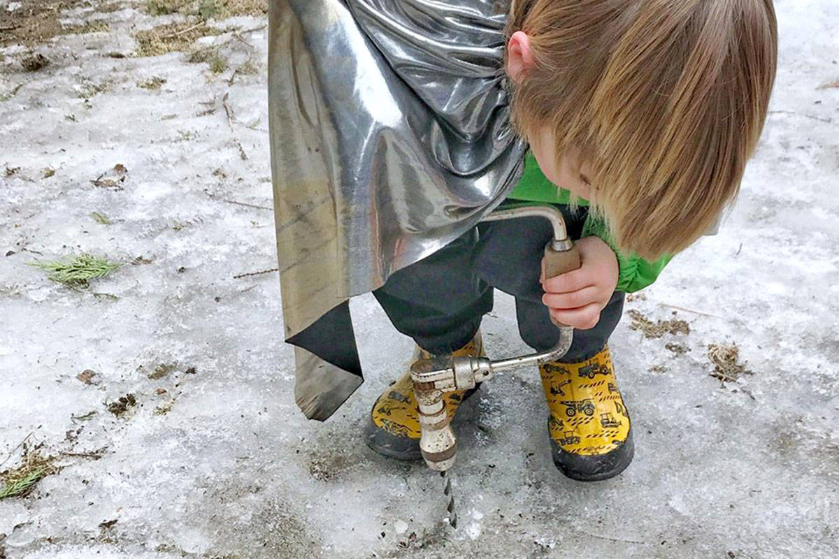 Forest school children learn by playing outdoors