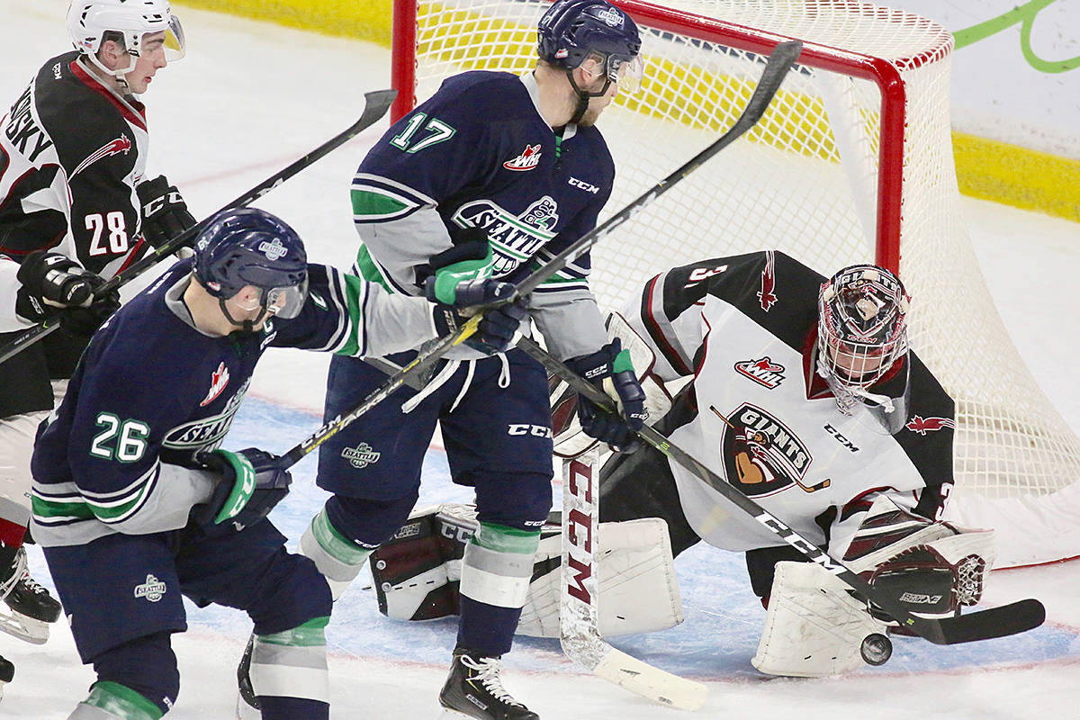 Trent Miner was back in goal for the G-Men Friday night on home ice at Langley Events Centre, where he helped the team win Game 5 of the playoff series against Seattle, by the score of 3-2. (Rik Fedyck/Vancouver Giants)