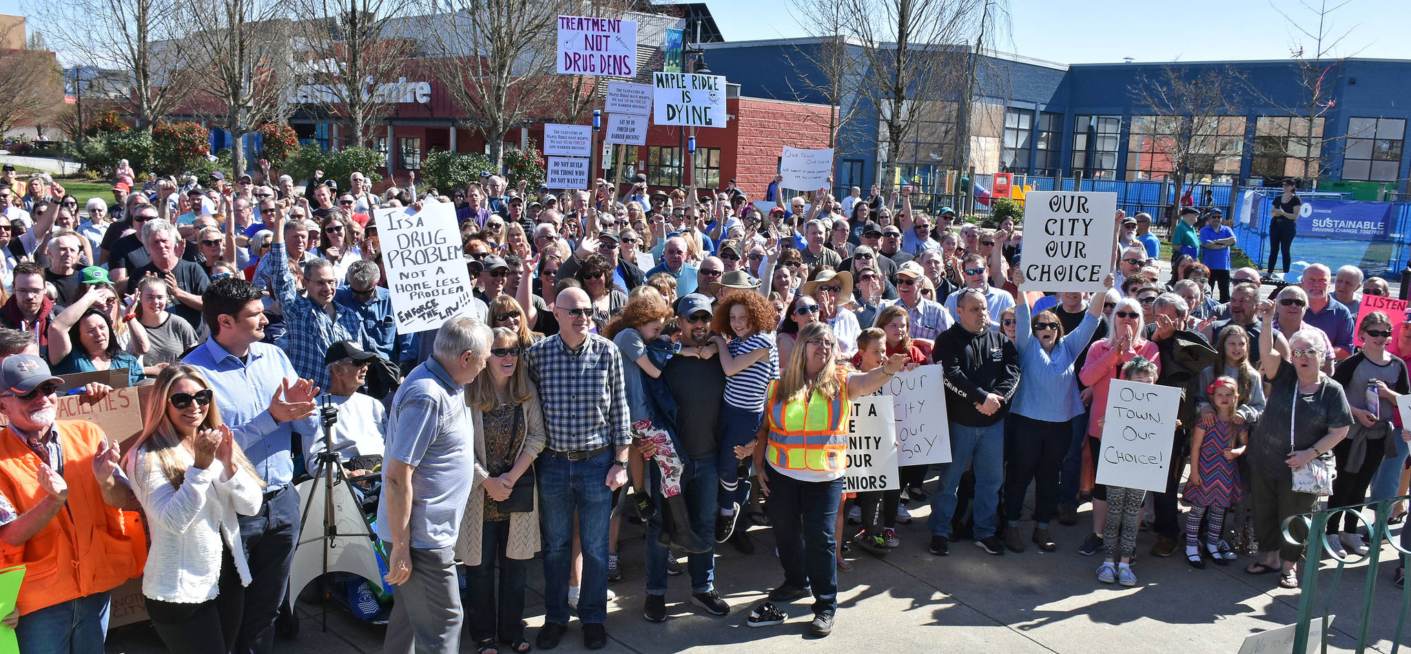 Rally against homeless housing in downtown Maple Ridge