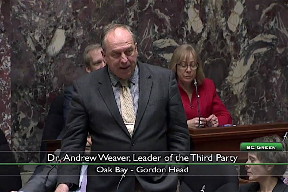 B.C. Green Party leader Andrew Weaver debates in the B.C. legislature. His efforts to stop new tax incentives for LNG Canada have been voted down 83-3 by the NDP and B.C. Liberals. (Hansard TV)