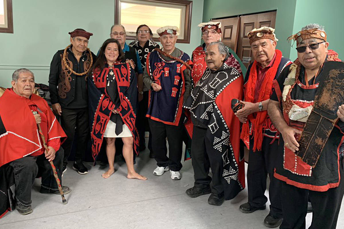 Liberal MP Jody Wilson-Raybould is shown with Musgamagw Dzawada'enuxw hereditary chiefs in a photo posted to Twitter on Sunday.