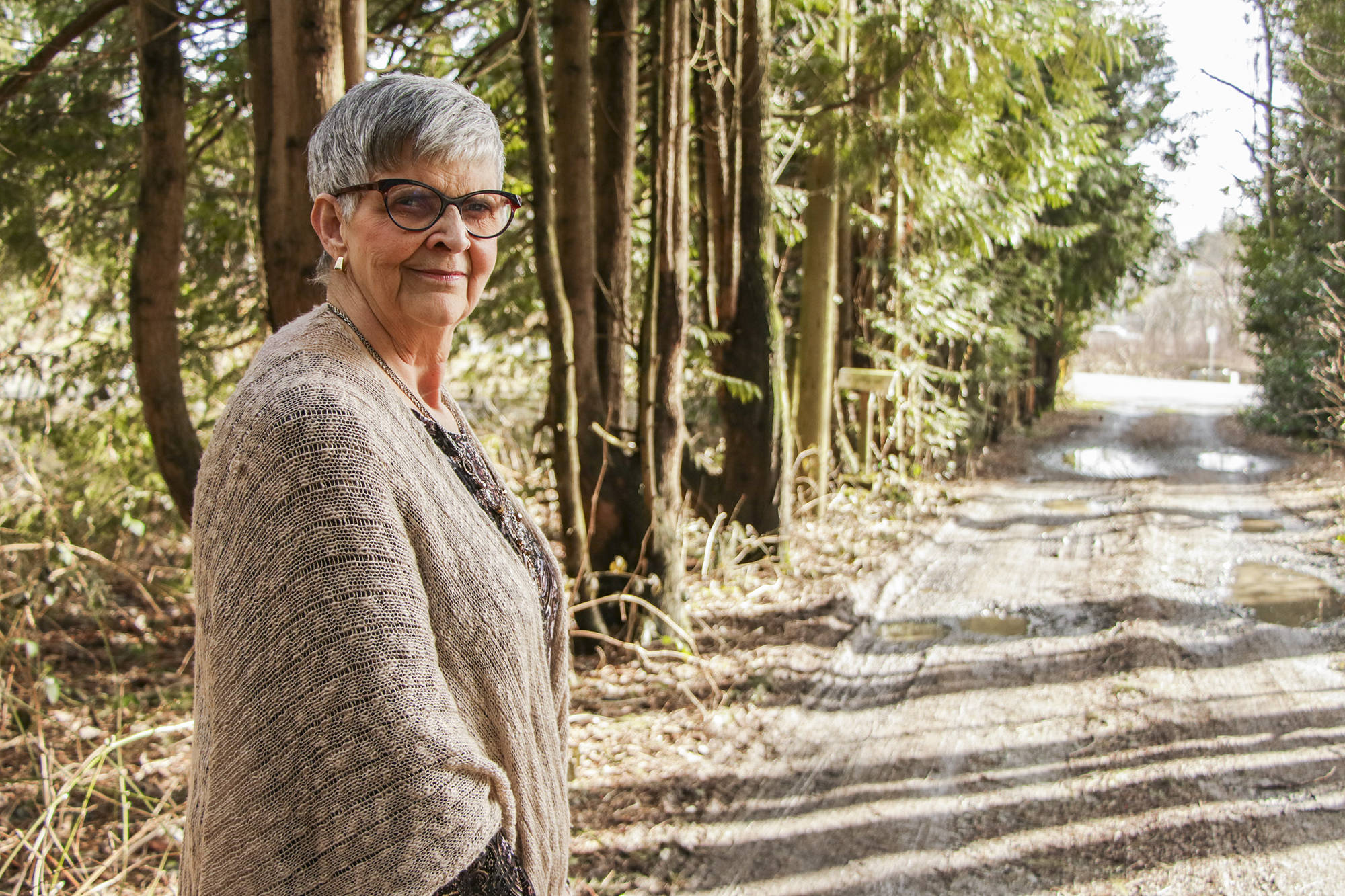 Peggy Allen's long driveway is the frontier between what is effectively ground zero for homelessness in Abbotsford and Allen's home, where she faced years of conflict with the local homeless population. Allen has since had a change in paradigms that has led her to working with the homeless community to improve conditions on the streets. Dustin Godfrey/Abbotsford News