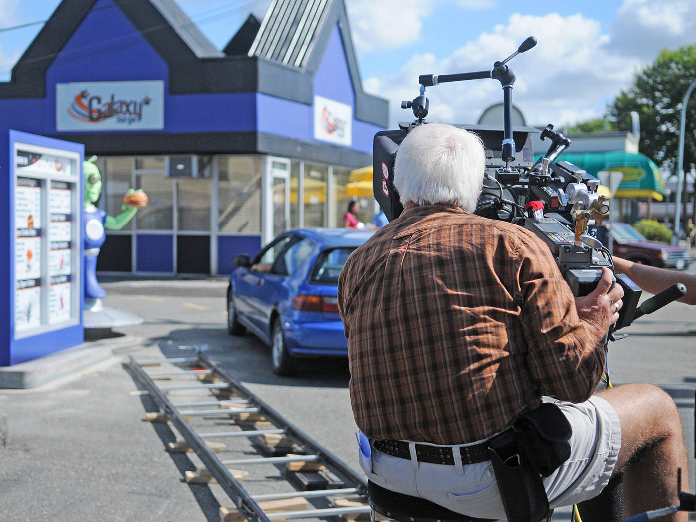 The corner of 56 Avenue and 203 Street was transformed into a Galaxy Burger joint for filming of the movie Super Buddies in 2012. Langley Advance Times file photo