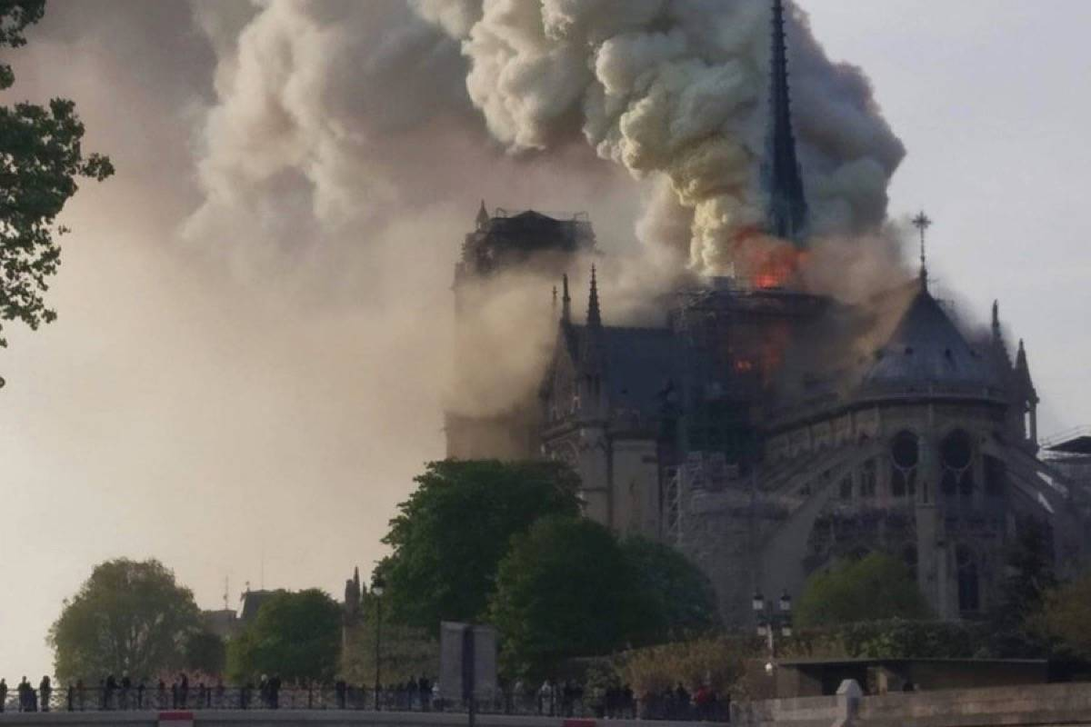 French capitals iconic Notre Dame Cathedral catches fire on April 15, 2019. (Alex Leboucher/Twitter)