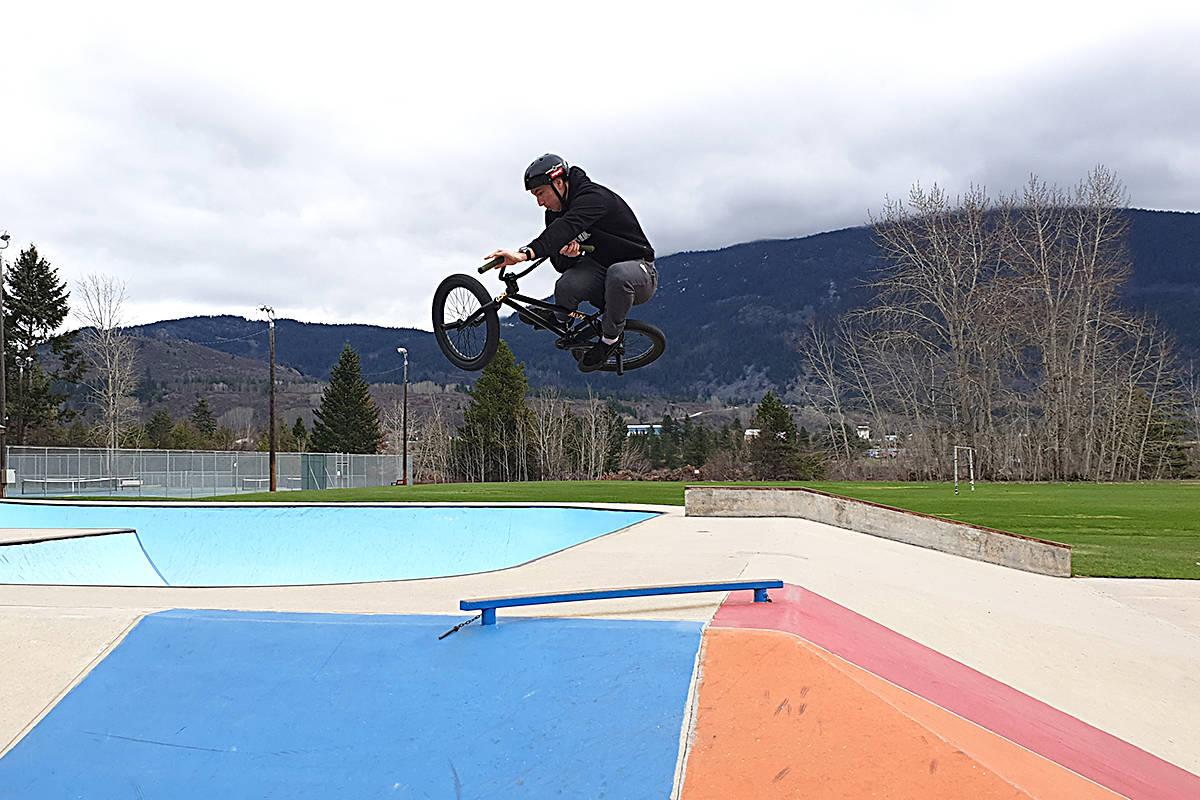 Mathew Fee doing tricks on his BMX bike at the skate park in Castlegar, B.C. (John Volken Academy photo)