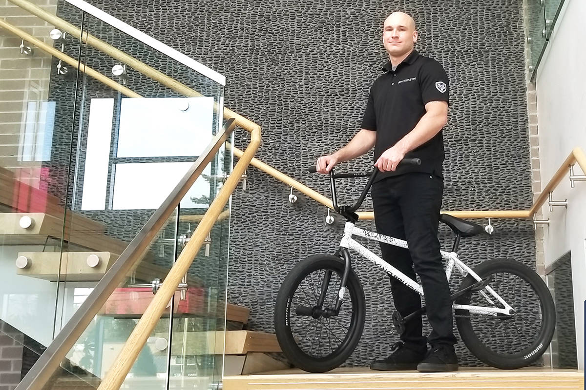 Mathew Fee and his BMX bike at the John Volken Academy in Surrey, B.C. As a former addict, Fee says he wants to fulfil his dream of completing a coast-to-coast tour while raising awareness around addiction treatment and mental health. (John Volken Academy photo)