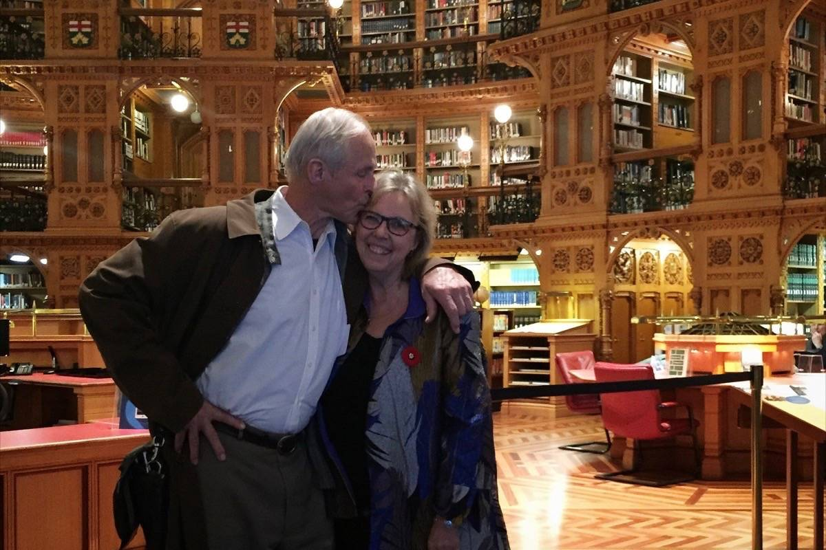 Green party leader Elizabeth May and fiance John Kidder will wed at Victoria's Christ Church Cathedral on Earth Day – April 22. (Photo Courtesy Julia Kidder)