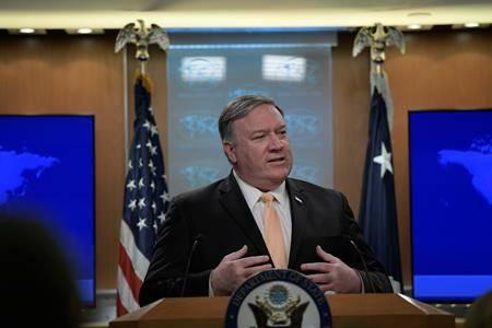 Secretary of State Mike Pompeo speaks during a news conference on Monday, April 22, 2019, at the Department of State in Washington. (AP Photo/Sait Serkan Gurbuz)