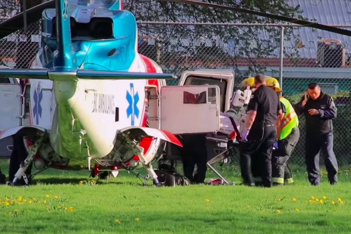 At least one person was rushed to hospital by Air Ambulance after a deck collapsed during a wedding celebration in Aldergrove on Friday afternoon.