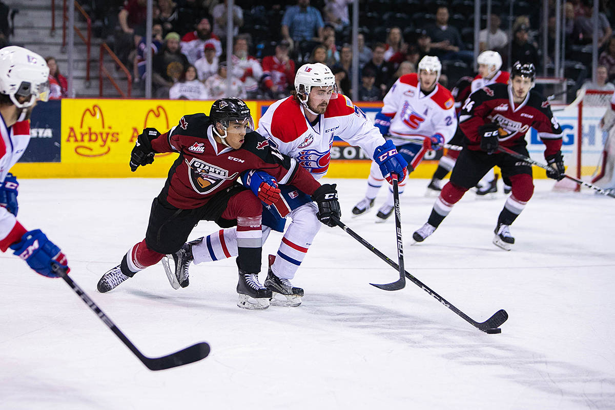 (Away from home, the Vancouver Giants secured another victory in the Western Conference finals against the Spokane Chiefs on Wednesday night. They won 4-3 in overtime. They're back home in Langley to play Game 5 on Friday. (Larry Brunt/Spokane Chiefs)