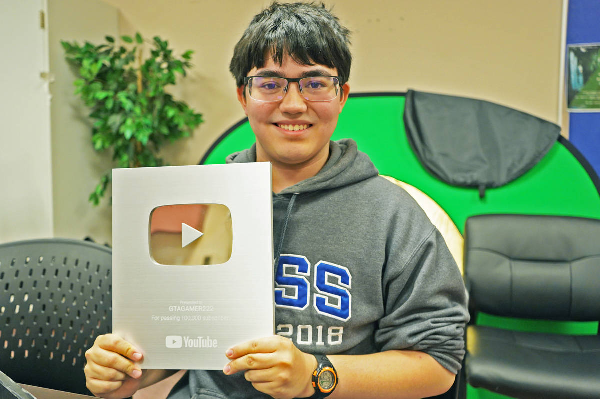 Jericho Fortune, a Grade 12 high school student from Prince Rupert, has received the YouTube Silver Play Button for garnering more than 100,000 subscribers on his channel GTAGAMER222. (Shannon Lough / The Northern View)