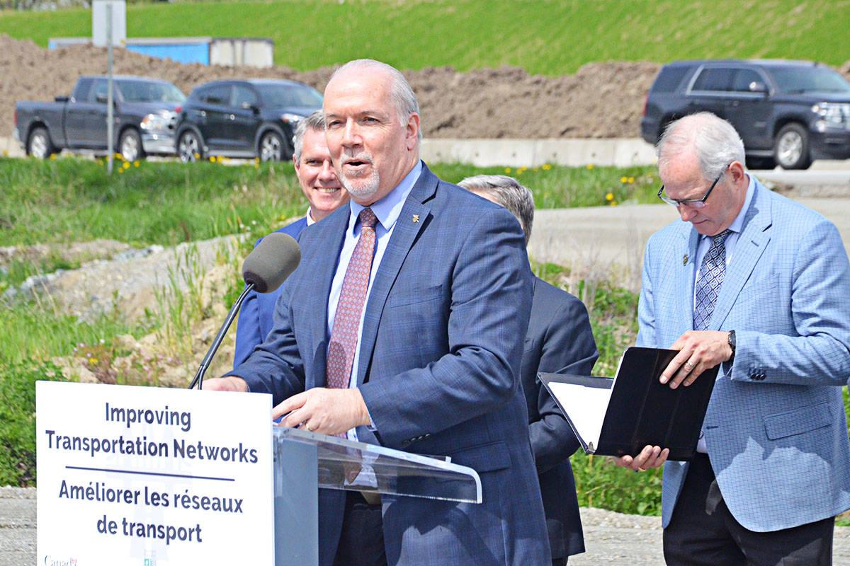 Premier John Horgan at Thursday's announcement. (Matthew Claxton/Langley Advance Times)