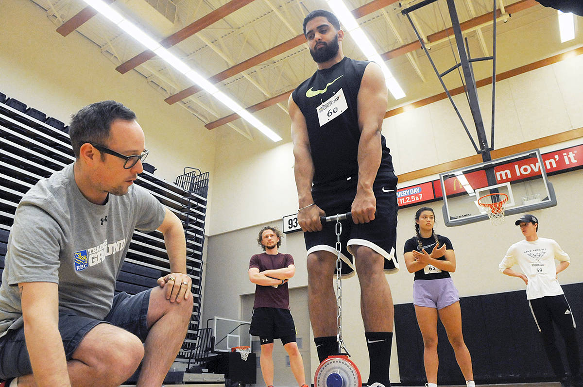 Abbotsford athlete Robin Gill underwent a test of strength at the RBC Training Ground event at the Langley Events Centre on Sunday. Dan Ferguson Langley Advance Times