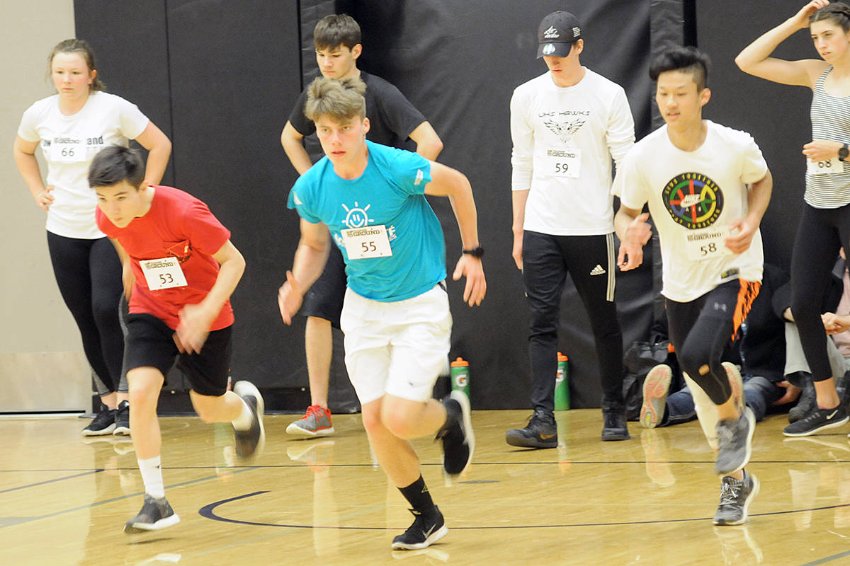 About 80 Langley and Fraser Valley athletes were tested for speed, power, strength and endurance at the RBC Training Ground event at the Langley Events Centre on Sunday. Dan Ferguson Langley Advance Times