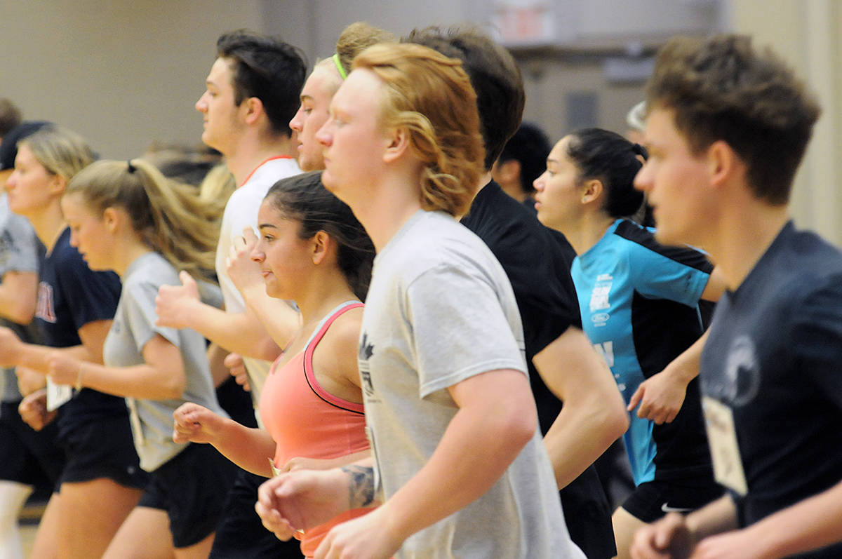 About 80 athletes were tested at the RBC Training Ground event at the Langley Events Centre on Sunday. Dan Ferguson Langley Advance Times