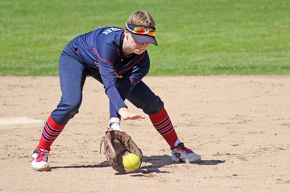 Fusion player Madison MacGillivray scoops a ground ball. Tracie Lawrence photo