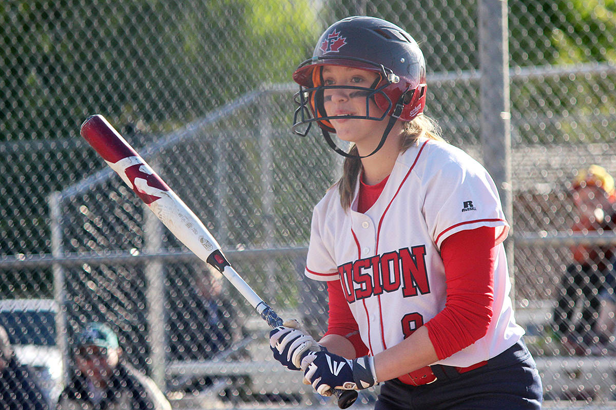 Fusion player Carlie Lawrence, seen here in action Saturday, hit a grand slam in the semi final to put Fusion ahead in the 5th inning. Tracie Lawrence photo