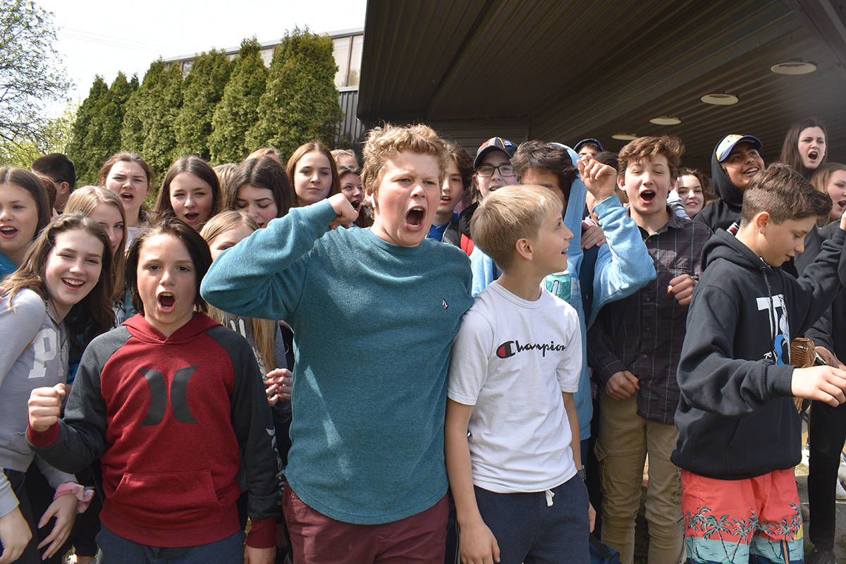Skeena Middle School students across all grade levels walked out of their classrooms at 11:11 a.m. on May 1, 2019. They gathered at Coast Mountains School District 82's head office on Kenney St. to protest against staffing changes announced by the district last week. (Brittany Gervais/The Terrace Standard)