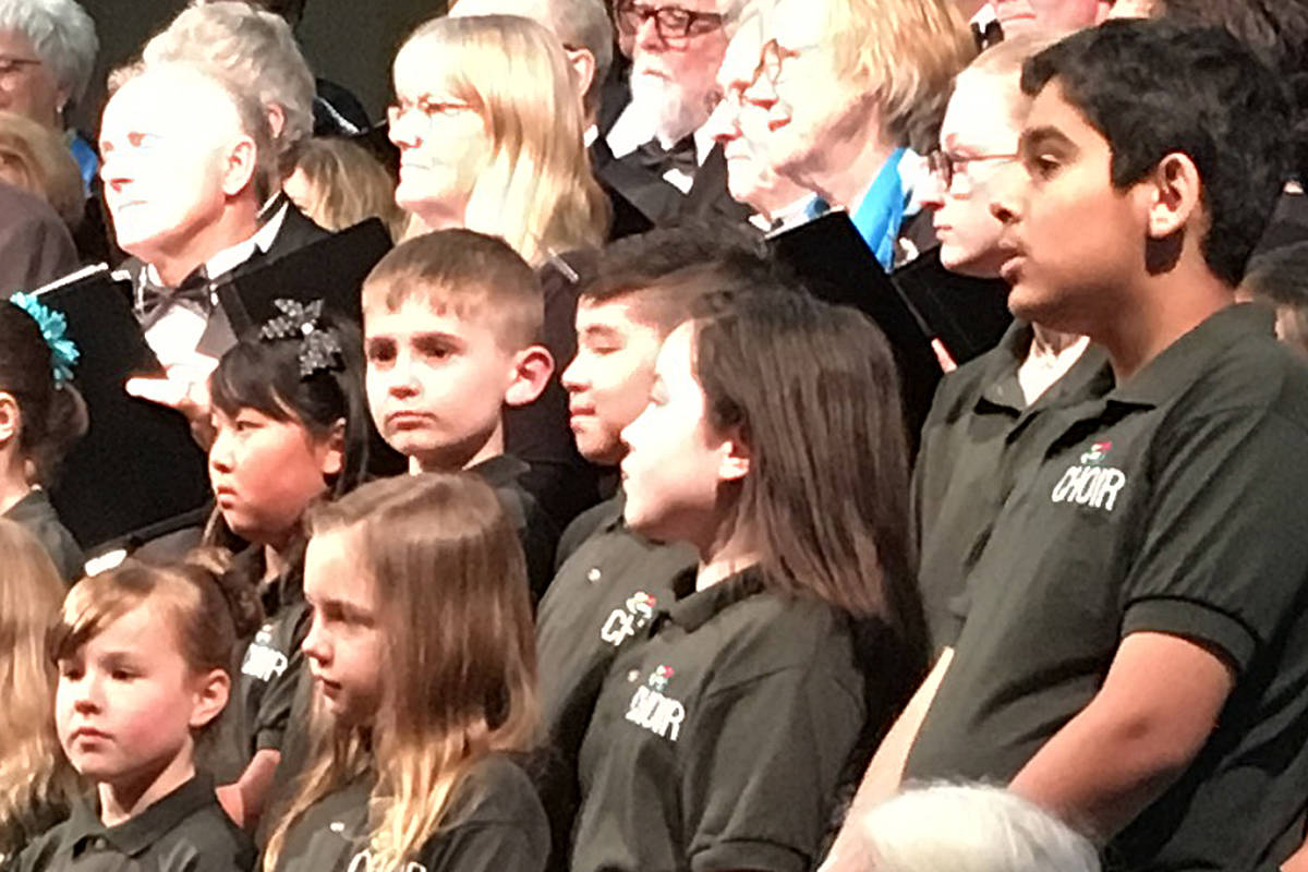 The kid's choir, with members from Grade 2 to 7, performed Saturday. (Special to the Langley Advance Times)