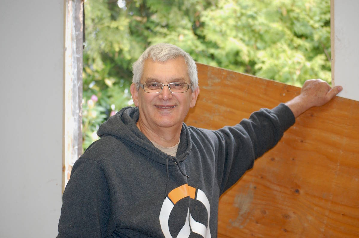 "Jim Pollock, a retired roofer from Abbotsford, said it's ""a pleasure just to help."" Pollock comes to Aldergrove every year to assist with EHR renovations. (Sarah Grochowski photo)"