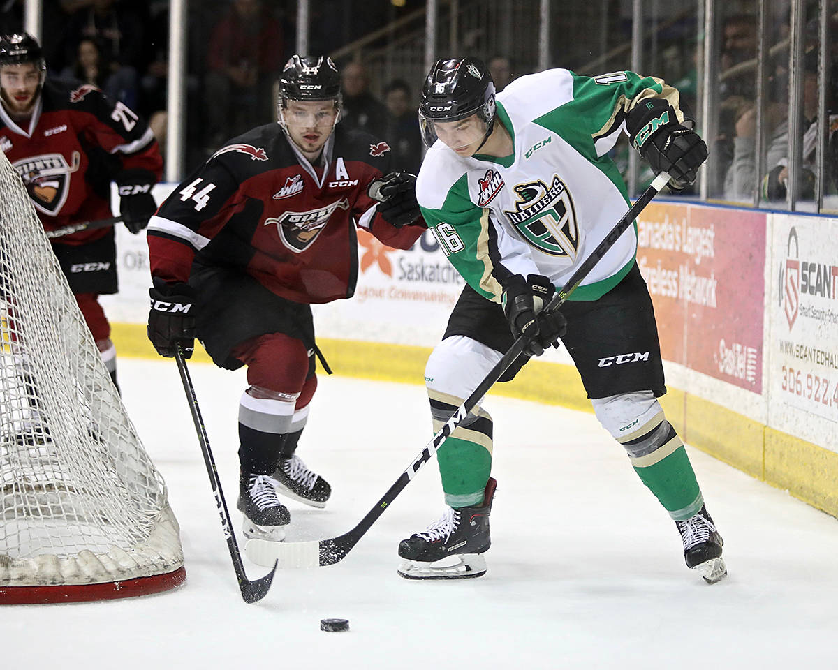 Giants drew first blood in 2019 Rogers WHL Championship match up in Prince Albert Friday night. The two teams face off again Saturday night in Saskatchewan. (Lucas Chudleigh/Apollo Multimedia)