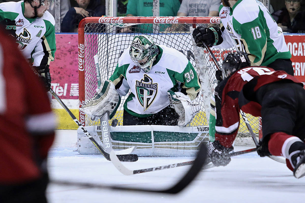 Giants fell to the Raiders 4-0 Saturday night in Prince Albert. The next game in the best-of-seven series happens at Langley Events Centre. (Lucas Chudleigh/Apollo Multimedia)