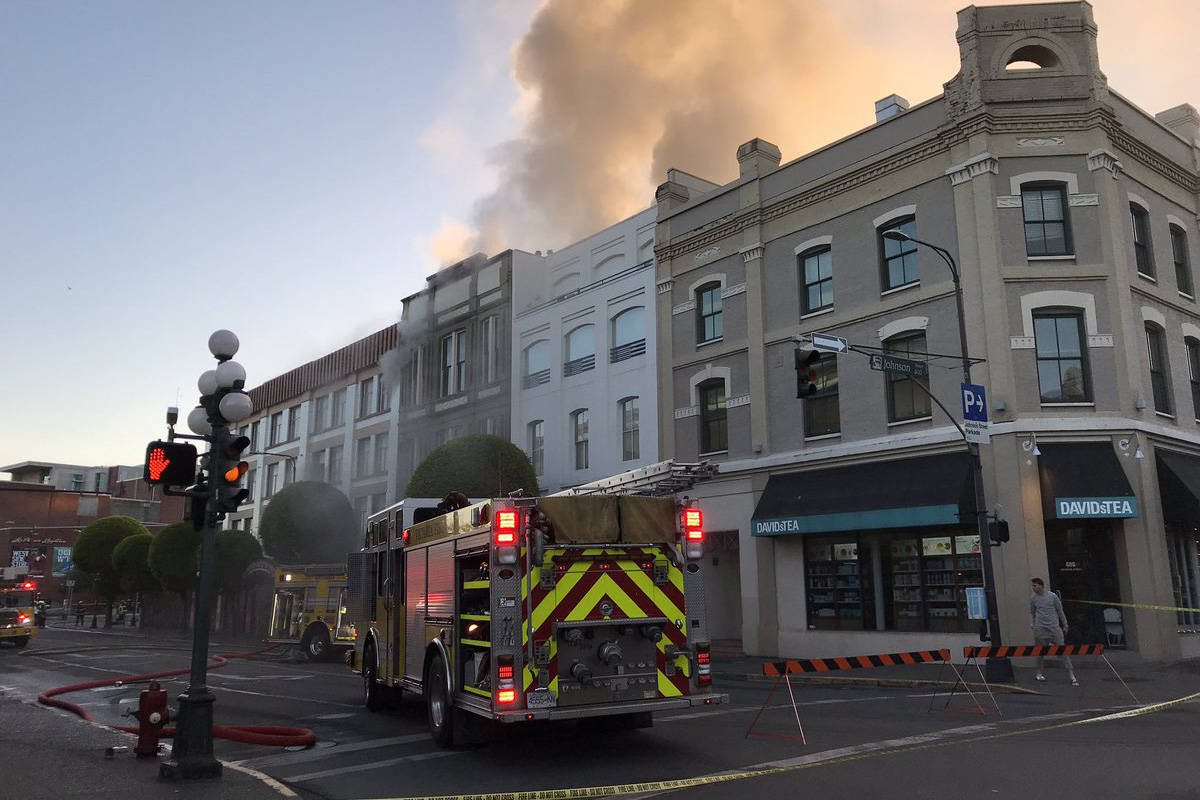 Crews battle a large building fire in downtown Victoria the morning of May 6. (Kendra Crighton/News Staff)