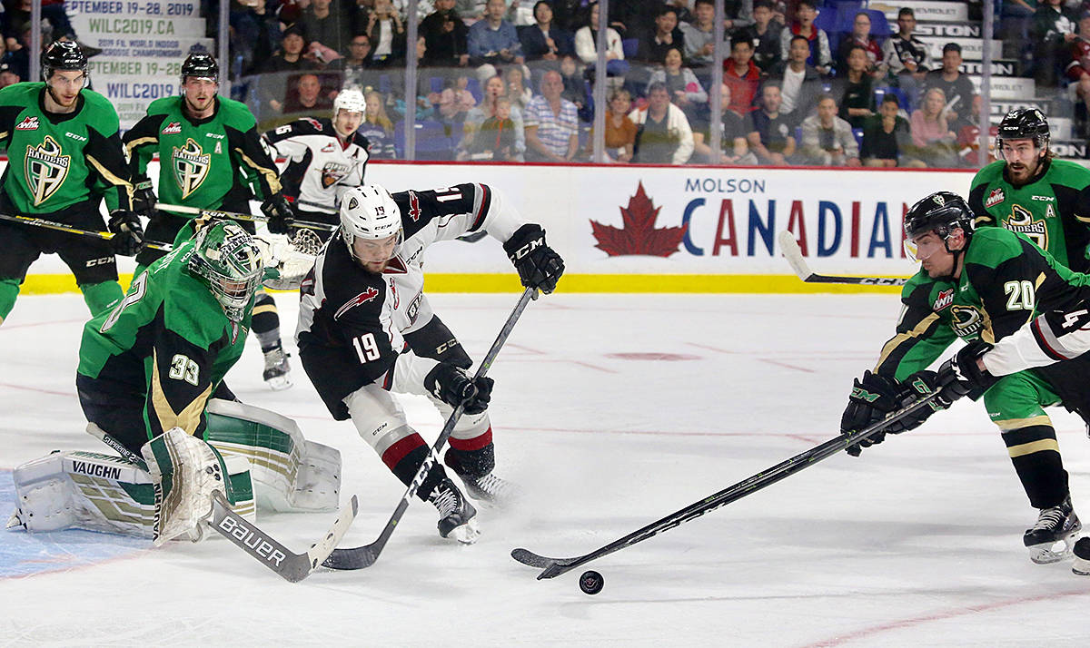 Vancouver Giants fell 8-2 to the Prince Albert Raiders in Game 3 of the 2019 Rogers WHL Championship Series on Tuesday night at the Langley Events Centre. (Rik Fedyck/Vancouver Giants)