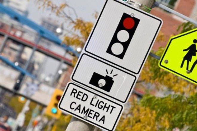 The cameras, most of them in the Lower Mainland, will clock the speed of each vehicle that goes through the intersection, even on a green light, and automatically send out a ticket to the vehicle's registered owner should it be speeding. (Black Press Media file photo)